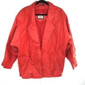 Vintage 80s Red Genuine Leather Oversized Jacket